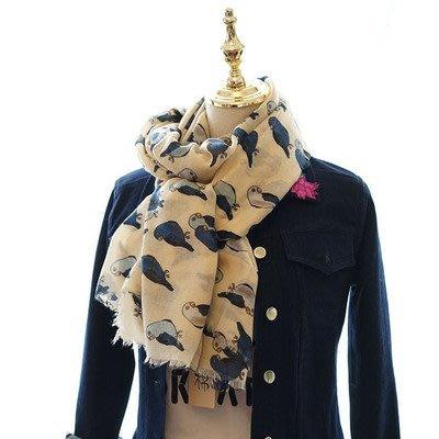 日本秋冬新款 超美圍巾 米色鸚鵡 圖案...