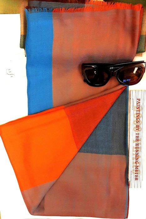 喀什米爾羊絨 100%cashmere國際品牌GOYO 圍巾披肩幾何跳色 特輕絲絨款 17