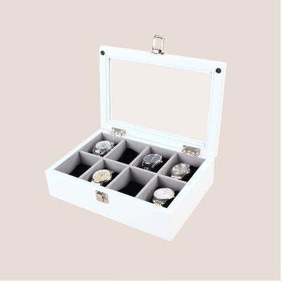 【優上】實木質 手錶盒首飾收納盒收藏盒展示儲物盒「8位錶盒 雪山白色」