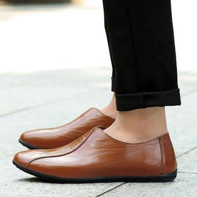 【時尚先生男裝】大碼男鞋春夏新款男士皮鞋一腳蹬套腳懶人豆豆鞋真皮潮流休閑男鞋 2005240579