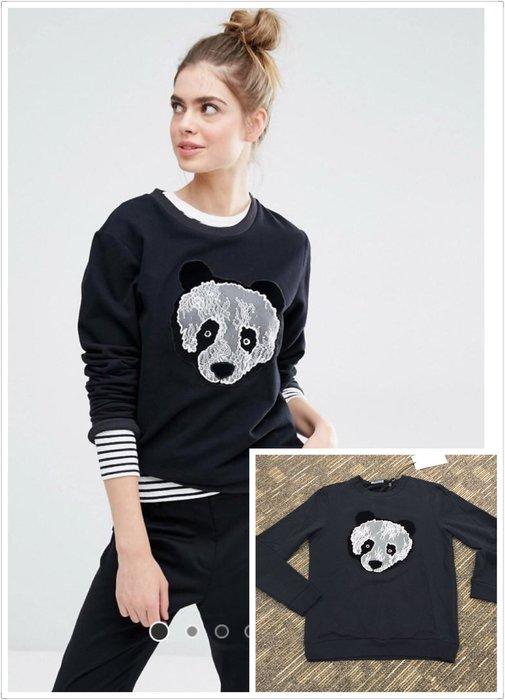 喬瑟芬【Sportmax Code】出清特價$7800~2016秋冬黑色蕾絲Panda 刷毛長袖棉衣衛衣