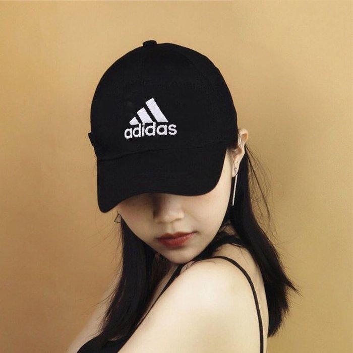 Adidas 經典全黑 白logo 可調式 老帽 棒球帽 S98151 -SPEEDKOBE-