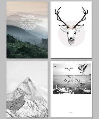 INS北歐現代雪山麋鹿裝飾畫畫芯客廳餐廳掛畫(4款可選)