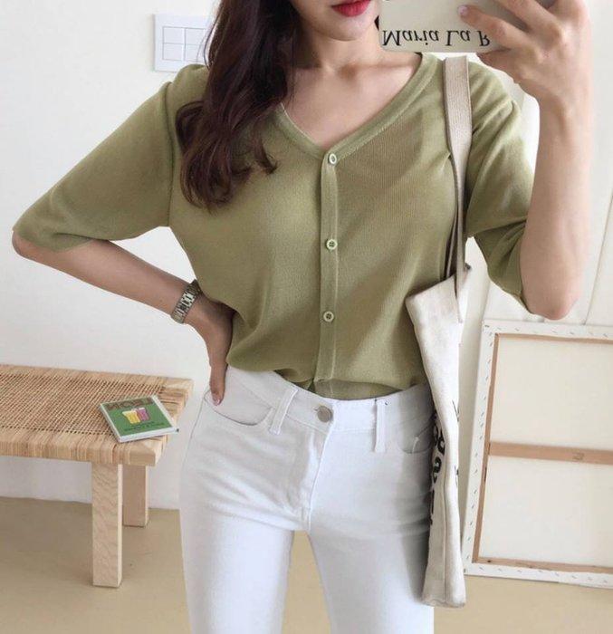 現貨出清價-韓國空運 百搭輕涼透氣微透針織短外套 罩衫(現貨-外套)