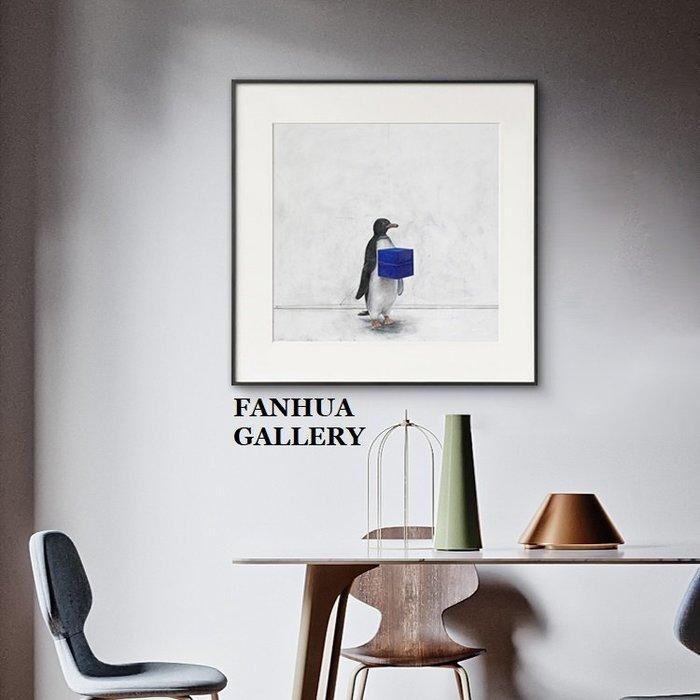 C - R - A - Z - Y - T - O - W - N 企鵝盒子動物創意裝飾畫客廳民宿公寓版畫工作室方形掛畫小眾藝術牆畫prints gallery