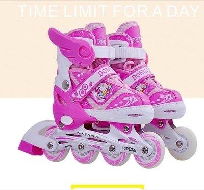 哆啦本鋪 345678910歲兒童溜冰鞋小孩旱冰鞋男女童輪滑鞋可調初學者 D655