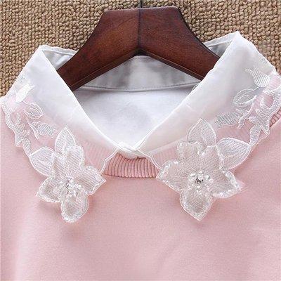 假領子 寶石花朵領片 洋裝外套大學T針織衫毛衣內搭~BC06561~ .貓咪跳芭蕾