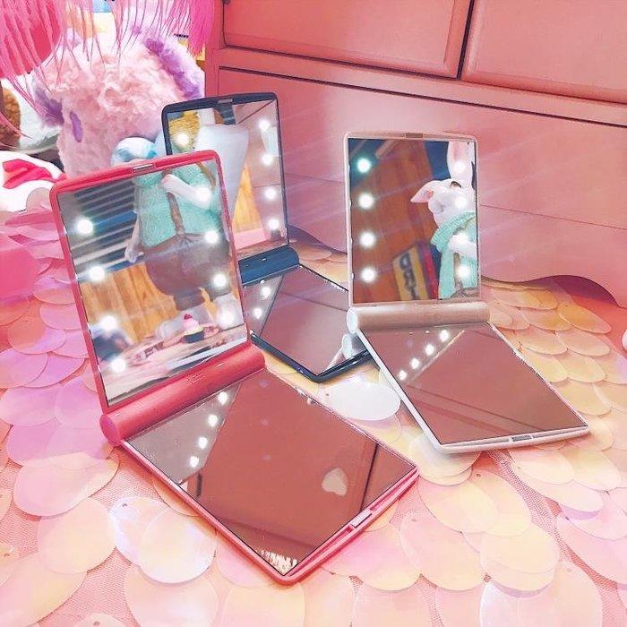 韓式迷你LED帶燈化妝鏡折疊可愛便攜隨身公主小鏡子梳妝鏡女生