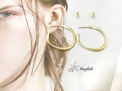 【海星 Starfish】|925銀針|韓風百搭款C字耳環 (質感霧金色)