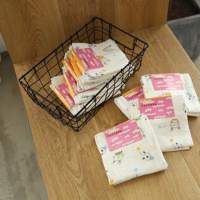 原單小確幸~日本進口 竹纖維 環保印染可愛純棉方巾/30*30//特價二條一組89