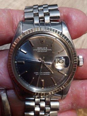 勞力士原裝古董錶1601,灰藍面,面盤原裝無翻寫,會停秒,整隻原裝,無鏽蝕