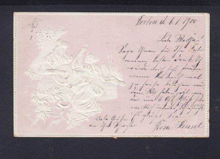 (極品珍藏) 德意志帝國(Deutsches Reich) 1900年 5 Pf.EF 珍貴古典浮雕明信片 寄柏林