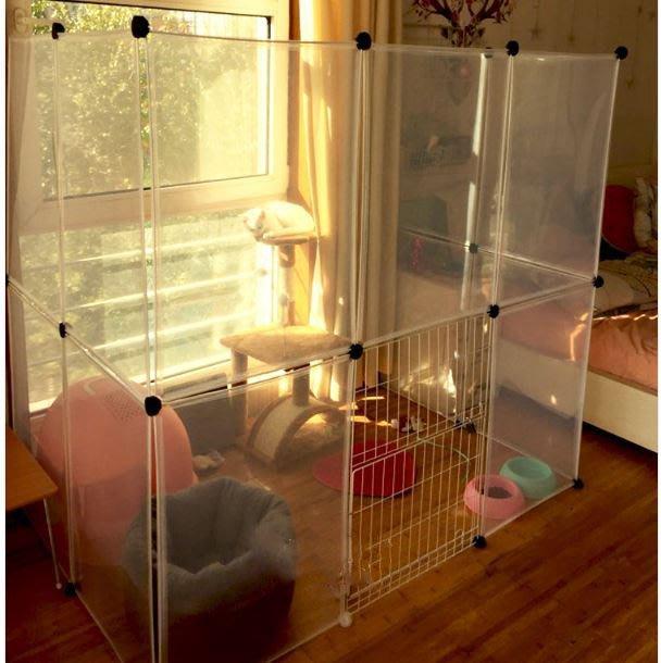 【最新款】寵物透明圍欄 10片組合 (附卡扣) 透明圍欄 多功能透明圍片可擴充圍欄 小狗 兔子 貓咪 狗籠 圍籠