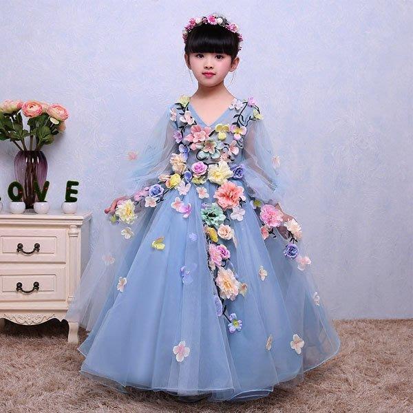 5Cgo【鴿樓】會員有優惠  530822231912 兒童禮服長款婚紗禮服花仙子連衣裙舞蹈演出服兒童公主裙演出服
