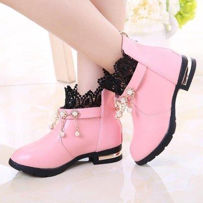 ZIHOPE 女童靴 秋冬季兒童皮鞋加絨中筒小女孩公主鞋女童短靴中大童學生棉鞋ZI812