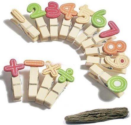 韓國 多功能原木彩色數字夾子(含加減符號)MENO夾/名片夾/留言夾/照片夾/零食夾 附麻繩