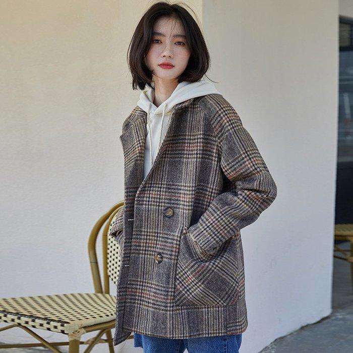 SeyeS  street雜誌街頭個性復古老爺格紋西裝大衣外套
