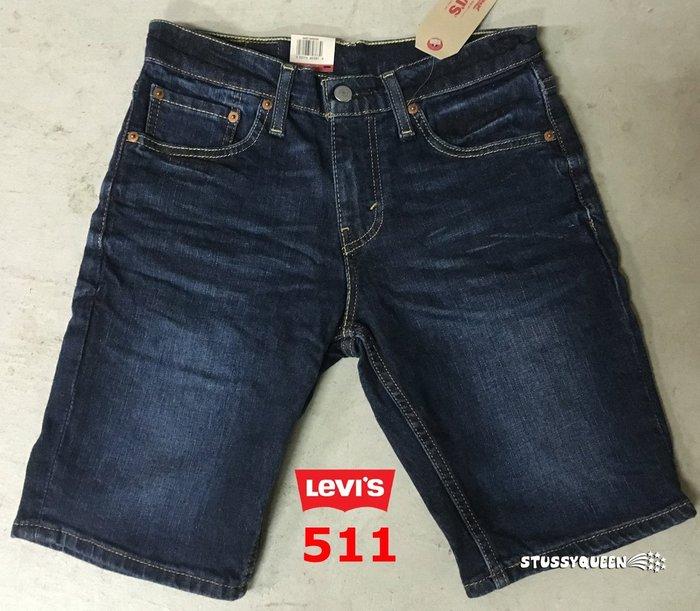 【超搶手】全新正品 美國Levis Skinny Jeans 511 Diaz 刷紋抓皺窄版 深藍牛仔短褲w28~w38