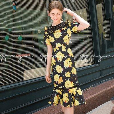 GEMYIN【歐美時尚精品女裝】玫瑰蕾絲荷葉領短袖洋裝 (預購) 原創設計