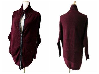 *Beauty*義大利D.EXTERIOR暗紅色連袖針織衫外套  S號 長版羊毛PH