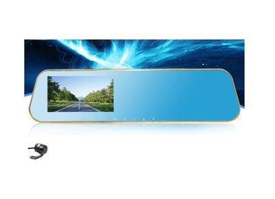 ☆ 福利品 ☆ 雙鏡頭後視鏡行車記錄器 FULL HD/廣角140度/4.3吋螢幕/支持倒車顯影