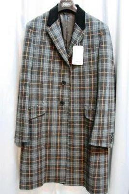 全新真品PS Paul Smith天鵝絨領威爾斯王子格紋單排雙扣後開衩過膝長大衣