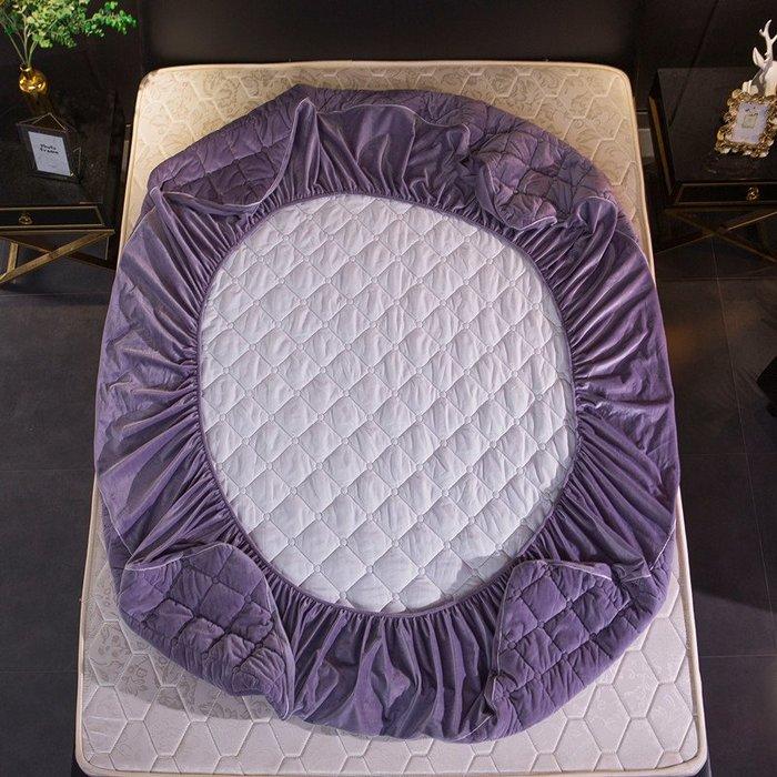 創意 可愛 床笠水晶絨夾棉床笠單件法萊絨珊瑚床罩床墊套席夢思保護套罩防滑床套