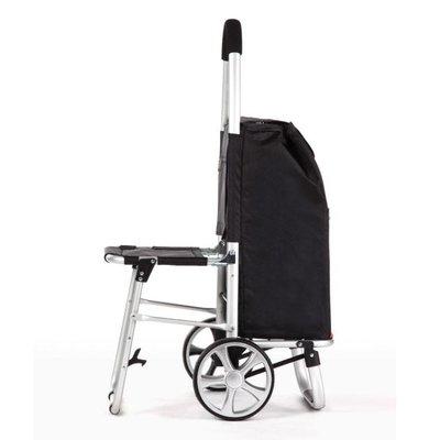 手拉車 帶坐凳購物車老人買菜車小拉車可折疊拉桿車座椅便攜拖車