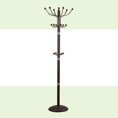 【在地人傢俱】20 簡單購-307型魯克胡桃色實木鐵管衣架/ 衣帽架 LC499-12 桃園市