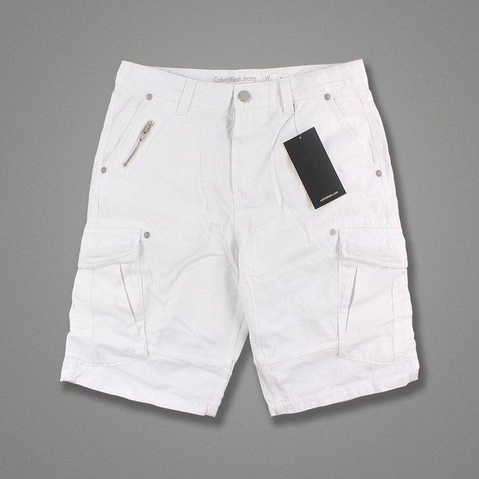 美國百分百【Calvin Klein】短褲 CK 休閒褲 褲子 五分褲 工作褲 飛行員 白色 32腰 H120