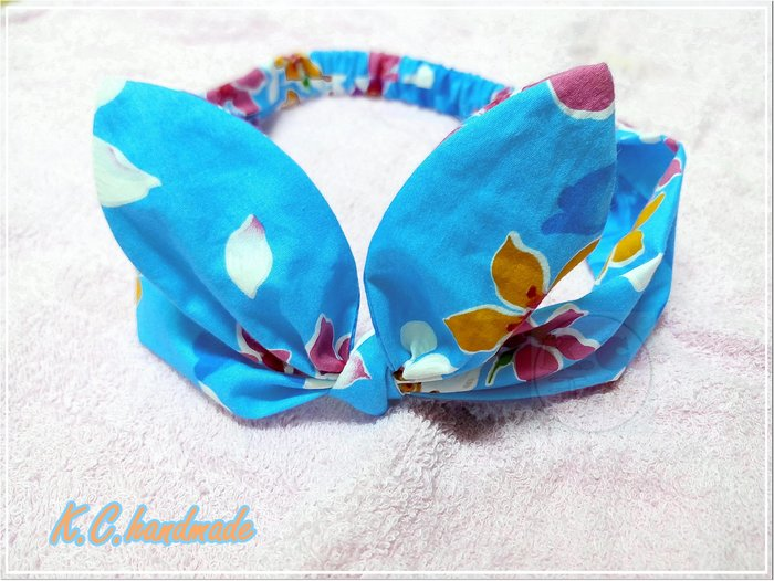 ❤K.C.手作☆ 髮帶♥ 油桐花髮帶 ❄ 客家花布 ⭐ 兔耳朵 ✪ 花朵✯蝴蝶結 ♥藍色款 ❤