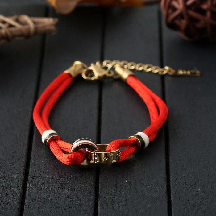 鈦鋼飾品手鏈不銹鋼紅繩手鏈填油手繩雙環手鏈 新麗小舖