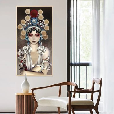 C - R - A - Z - Y - T - O - W - N 中國風壁畫京劇戲曲花旦人物臉譜掛畫新中式客廳裝飾畫
