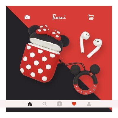 iphone手機殼手機套卡通可愛米奇米妮情侶蘋果AirPods無線保護套個性硅膠藍牙無線耳機包創意掛件手繩airpods耳機套收納盒子女款