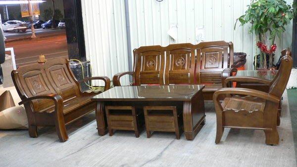 宏品二手傢俱館 實木家具賣場 A665*全新樟木製沙發*木頭沙發/木板椅/客廳傢俱含大小茶几 泡茶桌椅 餐桌椅