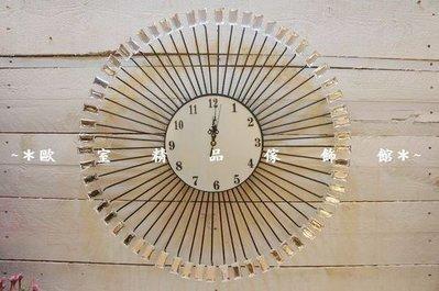 *~歐室精品傢飾館~* ~ 大型 鍛鐵 放射狀 造型 掛鐘(方鑽)~新款上市~