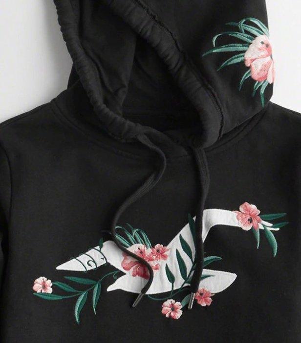 Hollister HCO 海鷗 繡貼布大海鷗 玫瑰 連帽上衣 現貨 帽T 黑