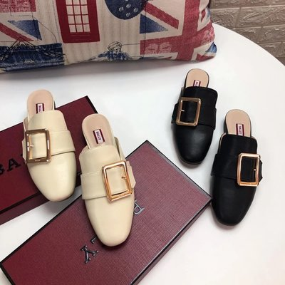 ✤寵愛Pamper for you✤BALLY 巴利方扣包頭穆勒鞋