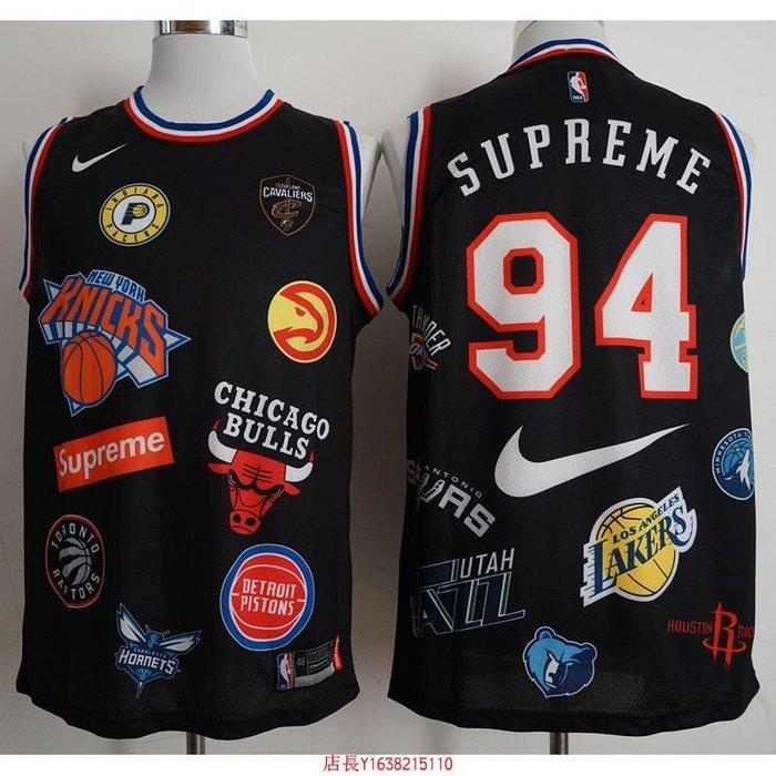 NBA球服 耐克球衣 Supreme X Nike 18SS 三方聯名籃球服 94號 黑色-胖胖購物