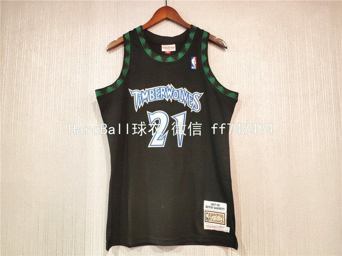 凱文·賈奈特(Kevin Garnett) NBA明尼蘇達灰狼隊 球衣 21號 復古版 黑綠色