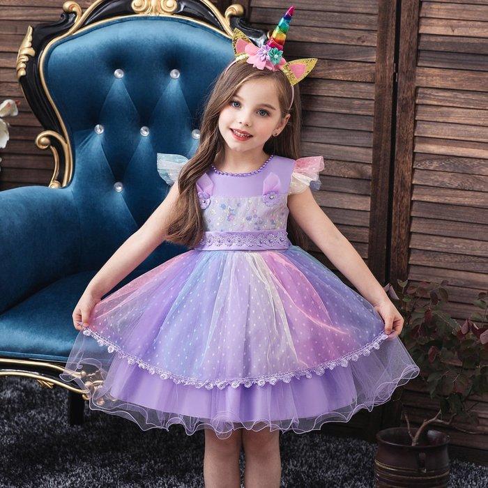 •*~ 辣媽咪衣飾小舖 ~*•❤童裝系列❤K970485韓版小童夏款甜美清新時尚蓬蓬蕾絲亮片可愛公主禮服公主洋裝