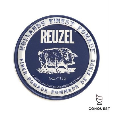 【 CONQUEST 】Reuzel Fiber Pomade 黑豬 低光澤纖維髮蠟 髮油 適用短髮、中厚髮造型、油頭