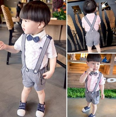 ♥ 【BS0059】 韓版男童裝圆點襯衫背帶褲套裝 2色 (白色 現貨) ♥