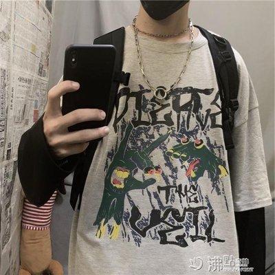 INSstudios.19AW韓國ins復古暗黑系嘻哈搞怪假兩件長袖T恤 男女款
