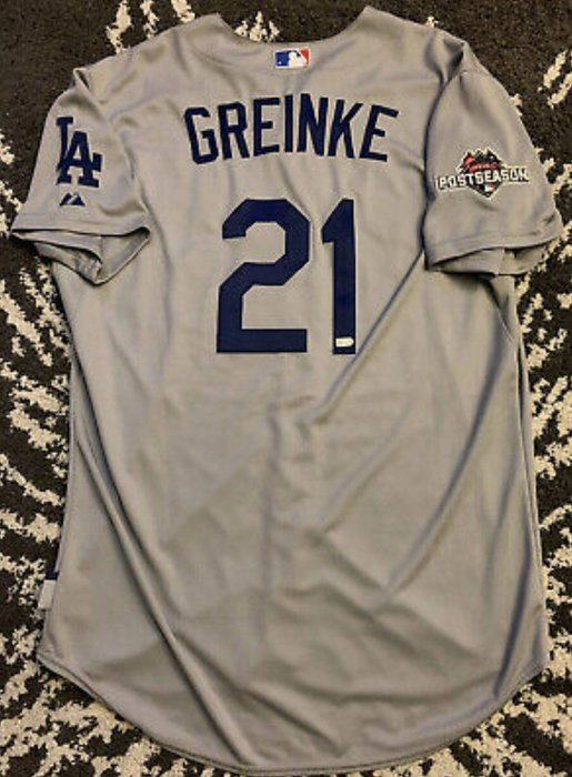 2015 MLB LA DODGERS #21 GREINKE Z魔神 GAME ISSUED ROAD JERSEY