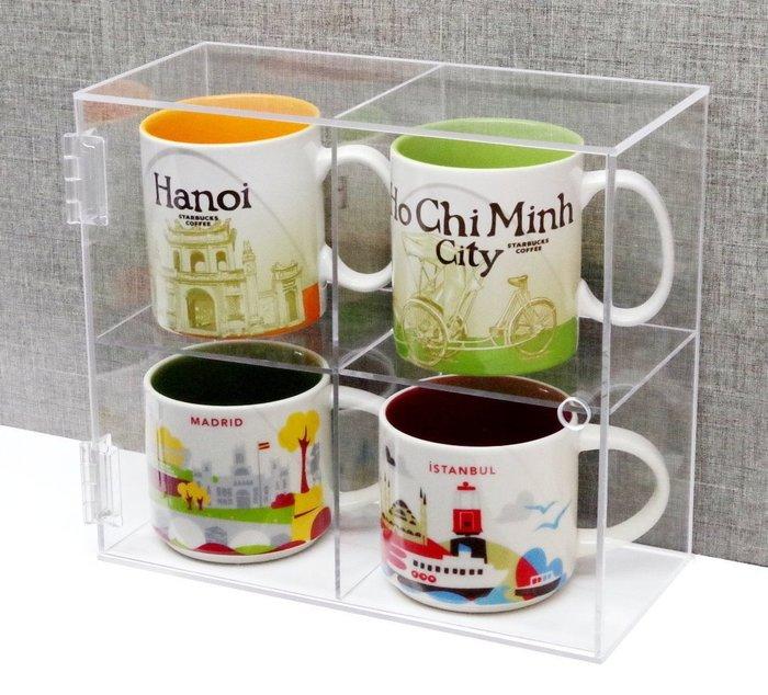 【積木城市】壓克力展示盒- 2X2 馬克杯收納盒 適用7-11超商集點漫威造型馬克杯、星巴克城市杯 B044
