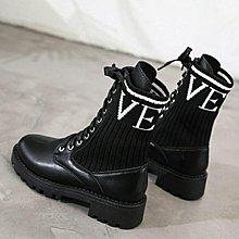 ☆╮街頭教主。直播爆款現貨帥到逆天軍靴風靡時尚襪靴 超顯腿長短靴