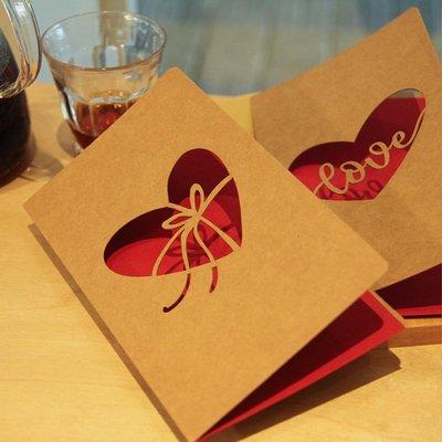 禮物鏤空牛皮生日小卡片創意祝福感謝節日復古心愿520情人節賀卡#禮品盒#包裝盒#創意#禮物盒
