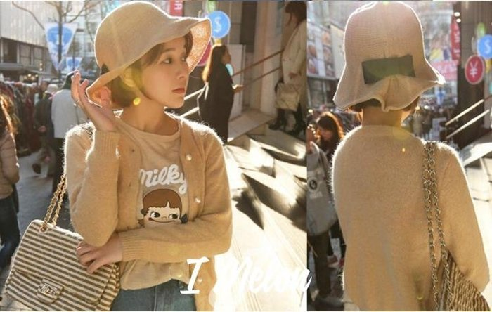 ::: i-MelOn ::: 100%韓國空運 正韓【現貨】韓製蝴蝶結漁夫帽※淺米色/深米色/黑色