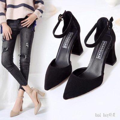 粗跟高跟鞋 新款一字扣小清新少女尖頭涼鞋女秋韓版淺口低幫鞋 QG21772